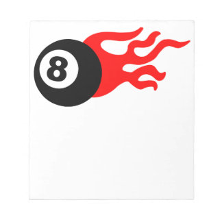 Eight Ball and Flames Notepad