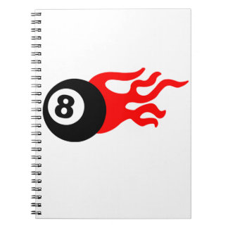 Eight Ball and Flames Spiral Notebook