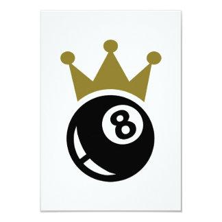 Eight ball billiards crown 9 cm x 13 cm invitation card