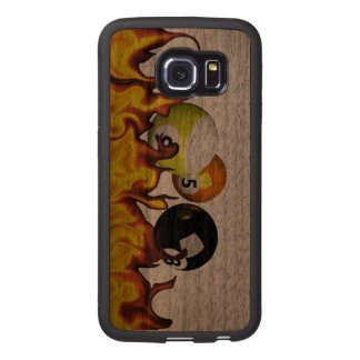 Eight Ball Flames Wood Phone Case