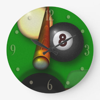 Eight Ball Pool and Billiards Large Clock