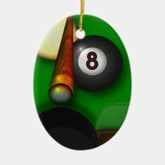Eight Ball Pool and Billiards Personalized Christmas Ornament