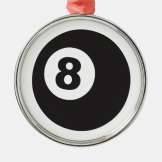 Eight Ball Silver-Colored Round Decoration