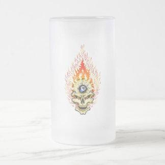 Eight Ball Skull Frosted Glass Mug