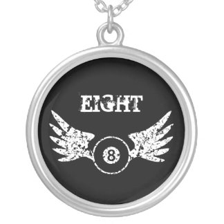 Eight ball with wings - billiards - pool round pendant necklace