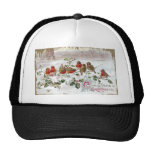 Eight English Robins on Holly Vintage Christmas Trucker Hat