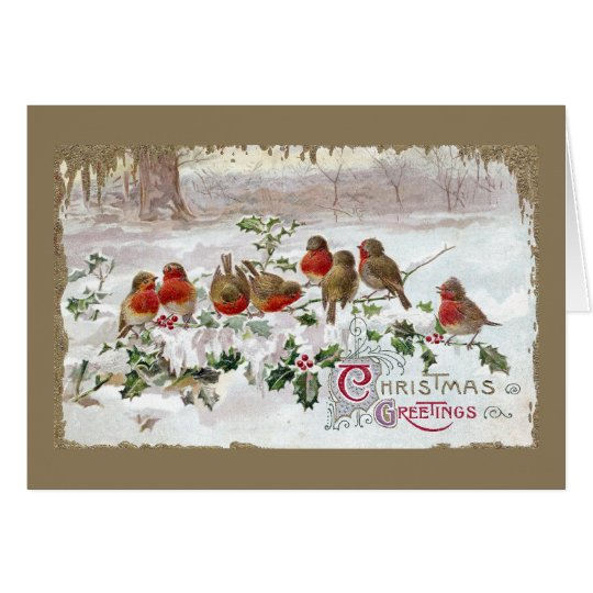 Eight English Robins on Holly Vintage Christmas Card