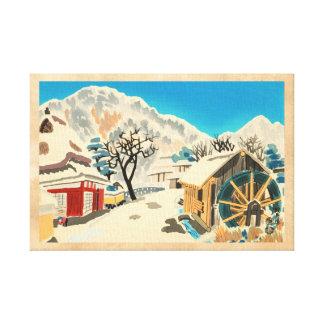 Eight Kyoto Snow Scenes, Kurama Road Eiichi Stretched Canvas Print