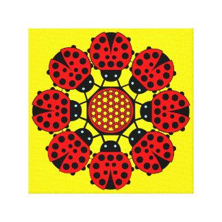 Eight Lucky Ladybirds Canvas Print