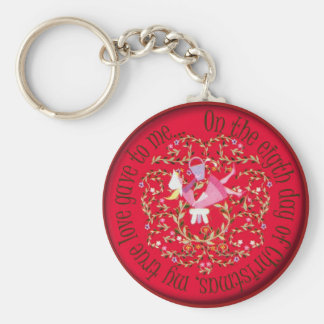 Eight maids a milking - 12 days of Christmas Basic Round Button Key Ring