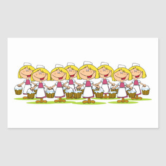 Eight Maids a-Milking Rectangular Sticker