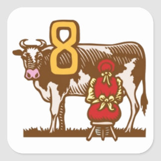 Eight Maids a-Milking Square Sticker