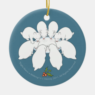 Eight Manx a-Milking... Christmas Tree Round Ceramic Decoration