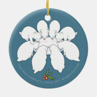 Eight Manx a-Milking... double sided Christmas Ornament