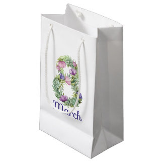 Eight march women day floral typography small gift bag