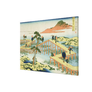 Eight part bridge, province of Mucawa, Japan, c.18 Canvas Print