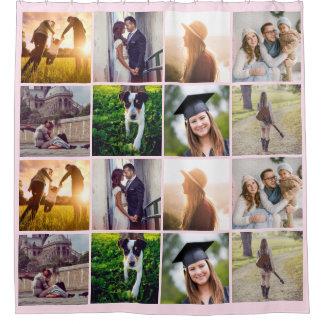 Eight Photo Collage | Trendy Blush Pink Shower Curtain