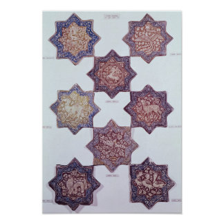 Eight tiles decorated with animals poster