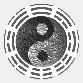Eight Trigrams Yin Yang Embossed Dragon Sticker