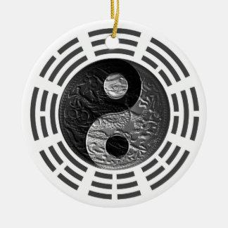 Eight Trigrams Yin Yang Embossed-Like Dragon Round Ceramic Decoration