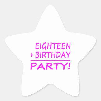 Eighteenth Birthdays : Eighteen + Birthday = Party Star Stickers