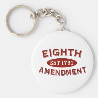 Eighth Amendment Est 1791 Basic Round Button Key Ring
