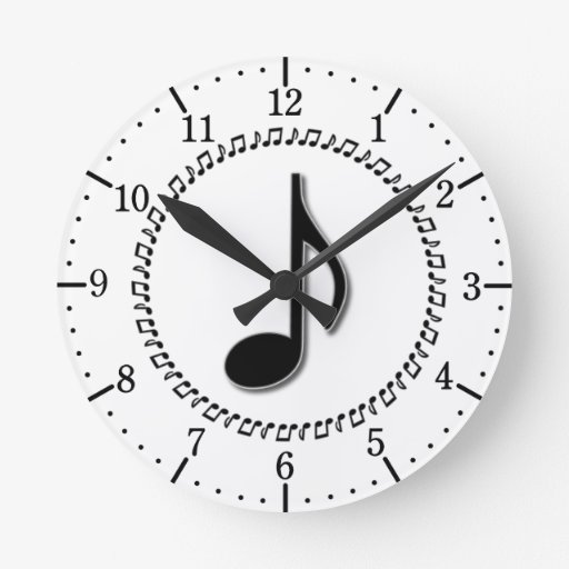 Eighth Note Music Design Wall Clock