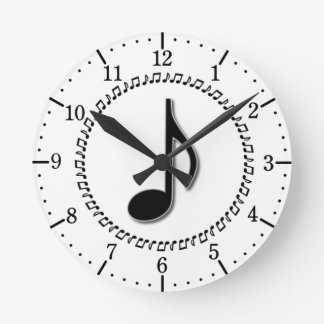 Eighth Note Music Design Round Clock