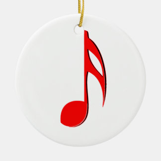 eighth note red black music design.png round ceramic decoration