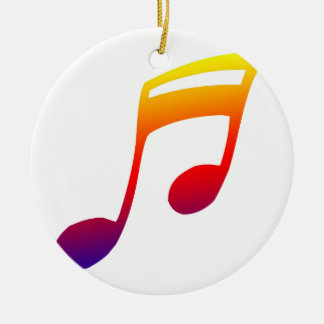 Eighth notes red yellow blue music design round ceramic decoration