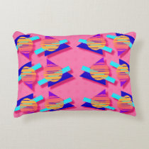 Eighties Memphis Neon Triangle Patterns Decorative Cushion