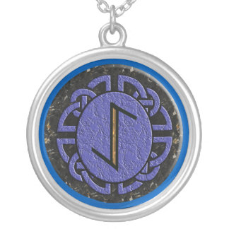 """eihwaz"" elder futhark silver plated necklace"