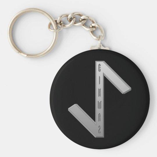 Eihwaz Rune grey Basic Round Button Key Ring