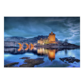 Eilean Donan Castle at Night borderless Poster