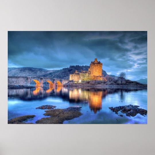 Eilean Donan Castle at Night borderless Poster