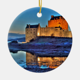 Eilean Donan Castle at night Round Ceramic Decoration