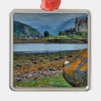 Eilean Donan Castle HDR Silver-Colored Square Decoration