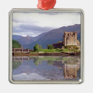 Eilean Donan castle reflection Silver-Colored Square Decoration