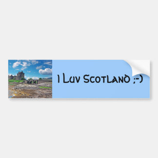 Eilean Donan square, I Luv Scotland ;-) Car Bumper Sticker