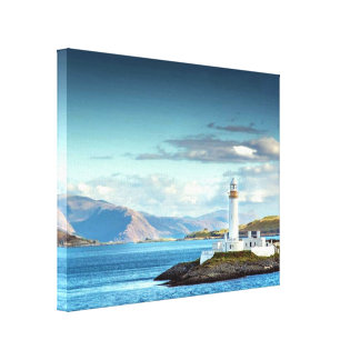 Eilean Musdile Lighthouse Scotland Scenic View Canvas Print