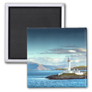 Eilean Musdile Lighthouse Scotland Scenic View Square Magnet