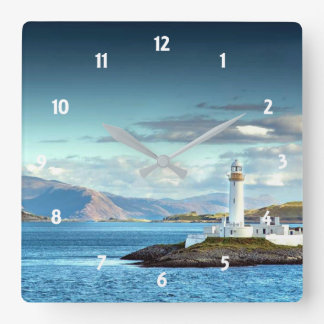 Eilean Musdile Lighthouse Scotland Scenic View Wallclock