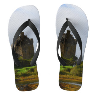 Eileen Donan Castle in Early Autumn Flip Flops