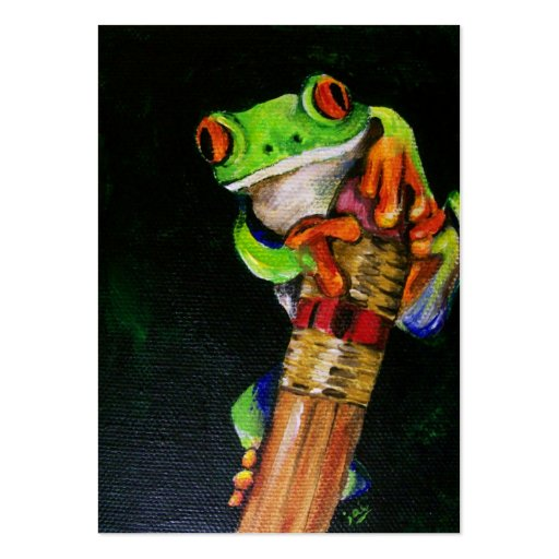 Einstein the Red-Eyed Tree Frog ACEO Art Cards Business Cards