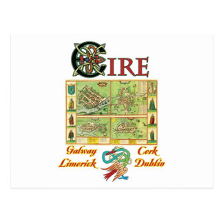 Eire Cities Map Postcard
