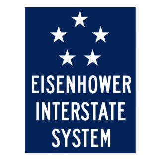 Eisenhower Interstate System Sign, USA Postcard