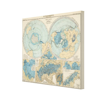 Eisverbreitung Atlas Map Canvas Print