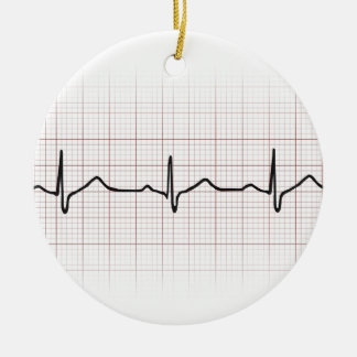 EKG heartbeat on graph paper, PhD (doctor) pulse Christmas Ornament