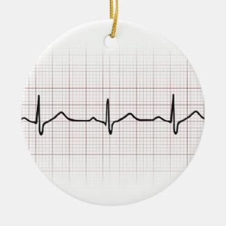 EKG heartbeat on graph paper, PhD (doctor) pulse Christmas Ornament
