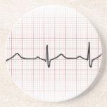 EKG heartbeat on graph paper, PhD (doctor) pulse Beverage Coaster